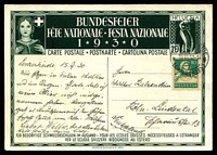 Lot 28715 [1 of 2]:1930 Bundesfeier Fete Nationale 10pf used to Germany in 1930 with additional 10pf tied by cds 15VII 30.