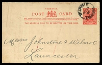 Lot 1813:1905 KEVII With 2 Lines of Text Under Arms HG #11 1d scarlet red, used in 1905.