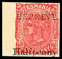 Lot 1743:1889 Surcharged in Words 'Halfpenny' on 1d scarlet Optd Reprint Imperf on thick card.