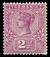 Lot 1946:1892-99 Tablets Wmk TAS Perf 14 SG #217 2½d purple.