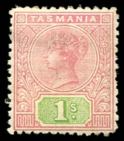 Lot 2219:1892-99 Tablets Wmk TAS Perf 14 SG #221 1/- rose & green.