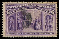 Lot 4493:1893 Columbus Sc #235 6c purple Scott.