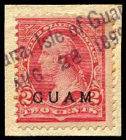 Lot 20152:1899 'GUAM' Ovpts Sc #2 2c Washington, tied to piece by part '[Ag]