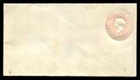 Lot 2392:1875 QV Embossed Stieg #KB1 2d rose on white laid paper curved flap