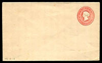 Lot 2393:1892 QV Embossed Stieg #KB12f 1d carmine on white stock.