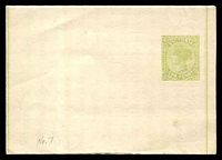 Lot 11465:1885 1d Yellow-Green on White Stock Stieg #E8.