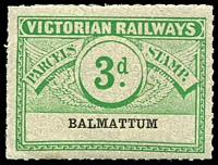 Lot 1840:1934 Third Issue Wing Series 3d Die II Emerald on white with grey pattern issued for Balmattum rated S/R1.