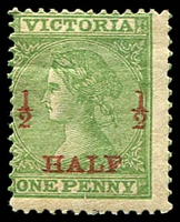 Lot 2175:1873 Surcharges SG #175 ½d on 1d green perf 12, with toned gum.