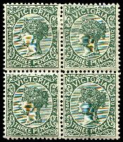 Lot 1873:1899-1901 Stamp Duty Wmk 4th V/Crown SG #362 3d slate green block of 4 (2**).