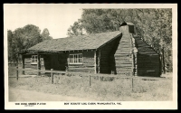 Lot 3291:Wangaratta: - Black & white PPC 'Boy Scouts' Log Cabin, Wangaratta, Vic', real photo, unused.  Renamed from Ovens PO 1/1/1854.
