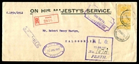 Lot 3408 [1 of 2]:1912 OHMS: Registered long envelope with WA 2d yellow X2 perf 'OS' tied by Perth cds 29 Nov 12 with boxed UNCLAIMED handstamp in black at left and red Perth Registration label, boxed DLO PERTH 15 JAN 1913 handstamp in violet, with backstamp Registered PO Kalgoorlie 2 DEC 1912 in violet.