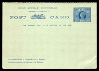 Lot 18248:1902 QV Reply Card PSSA #8 1½d+1½d blue on pale green, few small tones on perfs.