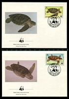 Lot 3216 [2 of 3]:1983 Sea Turtles SG #560-3 MUH set on WWF pages giving details of this threaten species comes together with set on WWF illustrated FDCs, unaddressed nice lot.