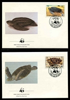 Lot 3216 [3 of 3]:1983 Sea Turtles SG #560-3 MUH set on WWF pages giving details of this threaten species comes together with set on WWF illustrated FDCs, unaddressed nice lot.