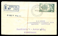 Lot 3217 [1 of 2]:1954 Registered cover with Australian adhesive tied by Mawson base canc 15FE 54, Mawson Registration Label at left.