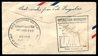 Lot 3526 [2 of 2]:USA: 1947 Illustrated Stampless cover to Australia for Navy South Pole Expedition U.S.S. Philippine Sea with fine Operation High Jump and U.S.S. Philippine Sea cachets on reverse, nice cover.