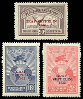 Lot 19762:1932 Graf Zeppelin SG #629-31 Overprint set. (3)