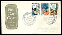 Lot 3647 [3 of 3]:1966 Defins set tied to three Australia Post covers by Macquarie Island canc 11 DEC 1966. (3)
