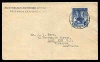 Lot 3532:1948 Cover with Australian adhesive tied by Macquarie Island cds 7MR 48.