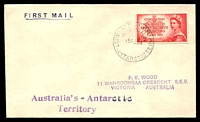 Lot 3533:1954 Cover with adhesive tied by Mawson base cancel 15FE54.