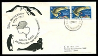 Lot 3535:1977  Illustrated Cover with adhesives tied by Davis base cds 17FE 77 being 20th Anniversary of Davis Base.