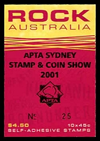 Lot 603:2001 Rock Australia BW #B257 $4.50 booklet overprinted & numbered for APTA Sydney Stamp & Coin Show 2001.