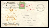 Lot 751 [1 of 2]:1936 South Australian Centenary and 7th Australasian Philatelic Exhibition illustrated stampless cover with first day of Exhibition cancel at left sent to Sydney with T2d in red and 2d Postage Due affixed at right few minor blemishes, nice cover.