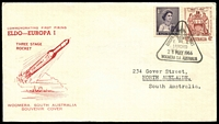 Lot 489 [1 of 2]:1966 Europa 1 Rocket Launch illustrated cover with adhesives tied by special cancel Woomera 24 May 1966.