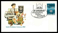 Lot 588:1983 125th Anniversary Australian Rules Football illustrated cover with adhesive tied by 125th Anniversary Australian Rules cancel Melbourne 10 July 1983, unaddressed.