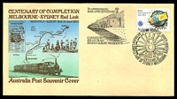 Lot 4967:1983 Centenary of Melbourne Sydney Rail Link illustrated cover with adhesive tied by commerative cancel 14 JUNE 1983 carried by Steam Train Sydney-Albury-Melbourne, unaddressed.