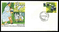 Lot 3925:1985 5th Womens World Bowls Championship 30c PSE with commerative cancel Reservoir 20 FEB 1985, unaddressed.