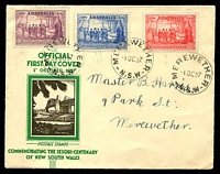 Lot 3965:APO 1937 NSW Sesqui set tied to illustrated FDC by Merewether cds 1 OC 37.