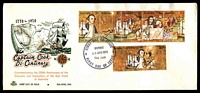 Lot 1059:Royal 1970 Captain Cook Bi-Centenary strip of 5 and 30c tied to illustrated FDC by Burnie cds 20 Apr 1970, unaddressed.
