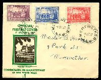 Lot 446:APO 1937 NSW Sesqui set tied to illustrated FDC by Merewether cds 1 OC 37.