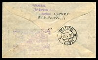 Lot 1131 [2 of 2]:1931 All the Way Australia - England AAMC #188a attractive All the Way illustrated cover with 2d & 6d Kingsford Smith & 1/4d KGV tied by Sydney Air Mail 24 AP 31 cds addresessed to Tallin Estonia and signed by Co Pilot G U Allan backstamp Tallinn 15 V 31, very nice intermediate.