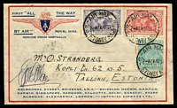 Lot 1131 [1 of 2]:1931 All the Way Australia - England AAMC #188a attractive All the Way illustrated cover with 2d & 6d Kingsford Smith & 1/4d KGV tied by Sydney Air Mail 24 AP 31 cds addresessed to Tallin Estonia and signed by Co Pilot G U Allan backstamp Tallinn 15 V 31, very nice intermediate.