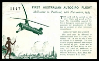 Lot 1134 [2 of 2]:1934 Melbourne - Portland AAMC #461 Special illustrated post card flown by Autogiro for Centenary of Victoria on 16th November with cachet at left in blue
