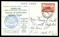 Lot 1134 [1 of 2]:1934 Melbourne - Portland AAMC #461 Special illustrated post card flown by Autogiro for Centenary of Victoria on 16th November with cachet at left in blue