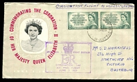 Lot 4805 [1 of 2]:1953 Australia - England AAMC #1317 illustrated cover for Coronation of QEII with Aust 2/- Coronation pair tied by Sydney cds 2 JE 53 with Coronation Flight cachet at left and backstamped London 6 JNE 1953.