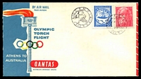 Lot 1141 [1 of 2]:1956 Greece - Australia AAMC #1362 illustrated Qantas cover for the Olympic Torch Flight with Greek adhesives tied by special Olympia cancel and backstamped with special Main Stadium Melbourne Olympic cancel 22NOV 1956, unaddressed.