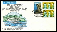 Lot 1144 [1 of 2]:1976 Melbourne - Melbourne AAMC #1800a illustrated cover for 50th Anniversary of Australia - Pacific flight with adhesives tied by special Anniversary cancel 27 Sep 1976 and with PNG, Solomon Islands, New Hebrides and Norfok Island backstamps together with Melbourne arrival backstamp 11OCT 76.