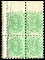 Lot 3930:1902 Converted NSW Plates BW #D1 ½d emerald marginal block of 4.