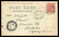 Lot 5219:1901 Canadian PPC to NSW with KEVII 2c tied by oval 'LOOSE/SHIP/LETTER' handstamp of Brisbane with Brisbane cds at lower left.