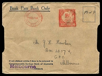 Lot 1121 [1 of 2]:1944 usage of Bank Pass Book envelope with 1½d Melbourne meter cancel 11SEP44 in red.