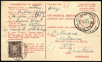 Lot 4709:1950 Advice of Delivery card with 3d brown KGVI tied by Public Offices cds 28 Nov 50 with Balwyn Vic returning cds 30 No50 at right, usual few pinholes, nice card.