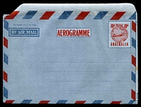 Lot 1021:1954 10d Plane on Globe BW #A8B Aerogramme boxed, sealing flap 9-12mm wide.