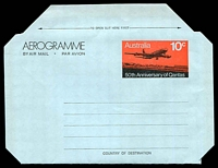 Lot 891:1970 10c Qantas 50th Anniversary BW #A35