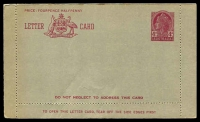 Lot 996:1957-59 4d Claret QEII BW #LC81B with admonition within in claret, unused.