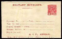 Lot 4217:1916-17 1d Red KGV Sideface 'A.I.F., ABROAD' At the Base BW #ME3 minor water stain, Cat $300.