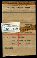 Lot 4220:1949 Army Medal Section ASC #X4.1 4½d wrapper with Melbourne Bulk Postage Registration label.